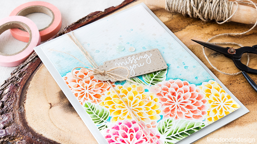Watercolored flowers to brighten your day. Missing you card. Find out more by clicking on the following link: https://limedoodledesign.com/2016/06/flowers-to-brighten-your-day/