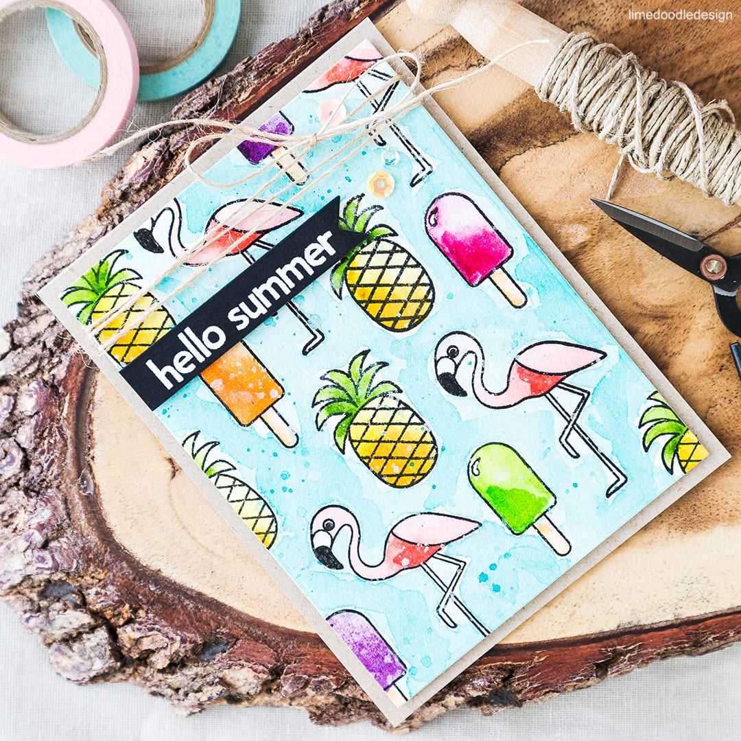 Flamingos and pineapples card! What signifies summer to you? Find out more by clicking on the following link: https://limedoodledesign.com/2016/06/flamingos-and-pineapples-what-signifies-summer-to-you/