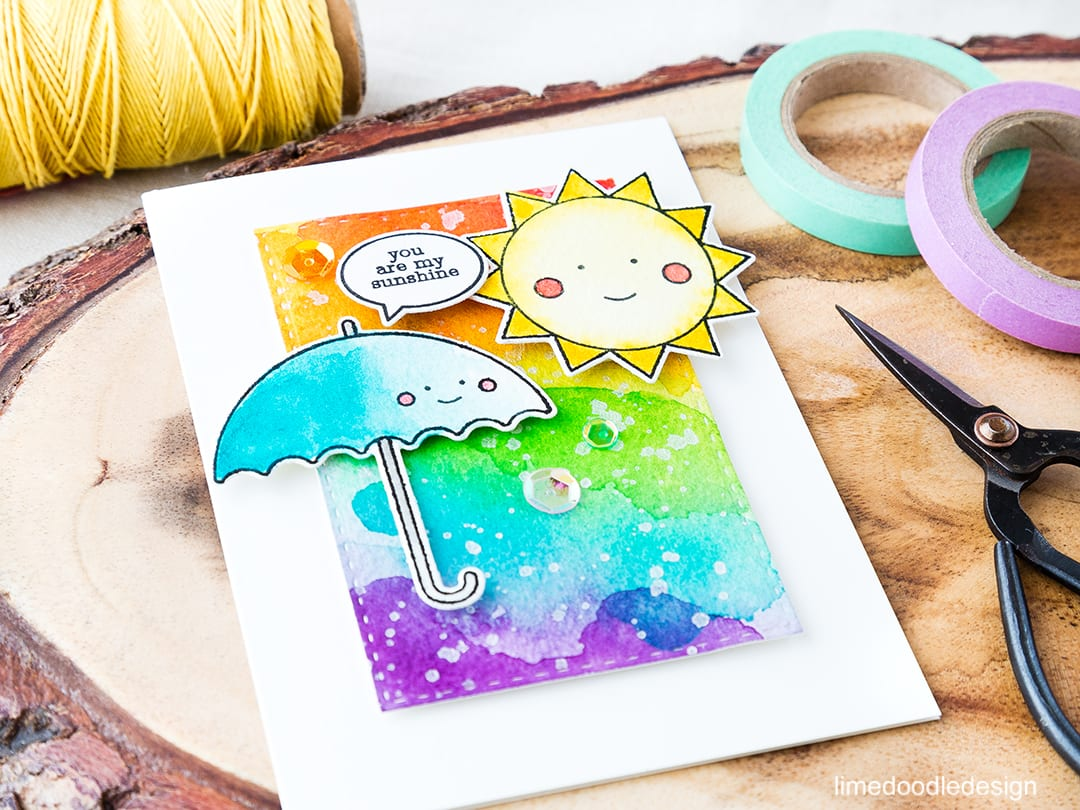 Watercolored happiness for the rainbow card challenge! Find out more by clicking on the following link: https://limedoodledesign.com/2016/06/watercolored-happiness-for-the-rainbow-card-challenge/