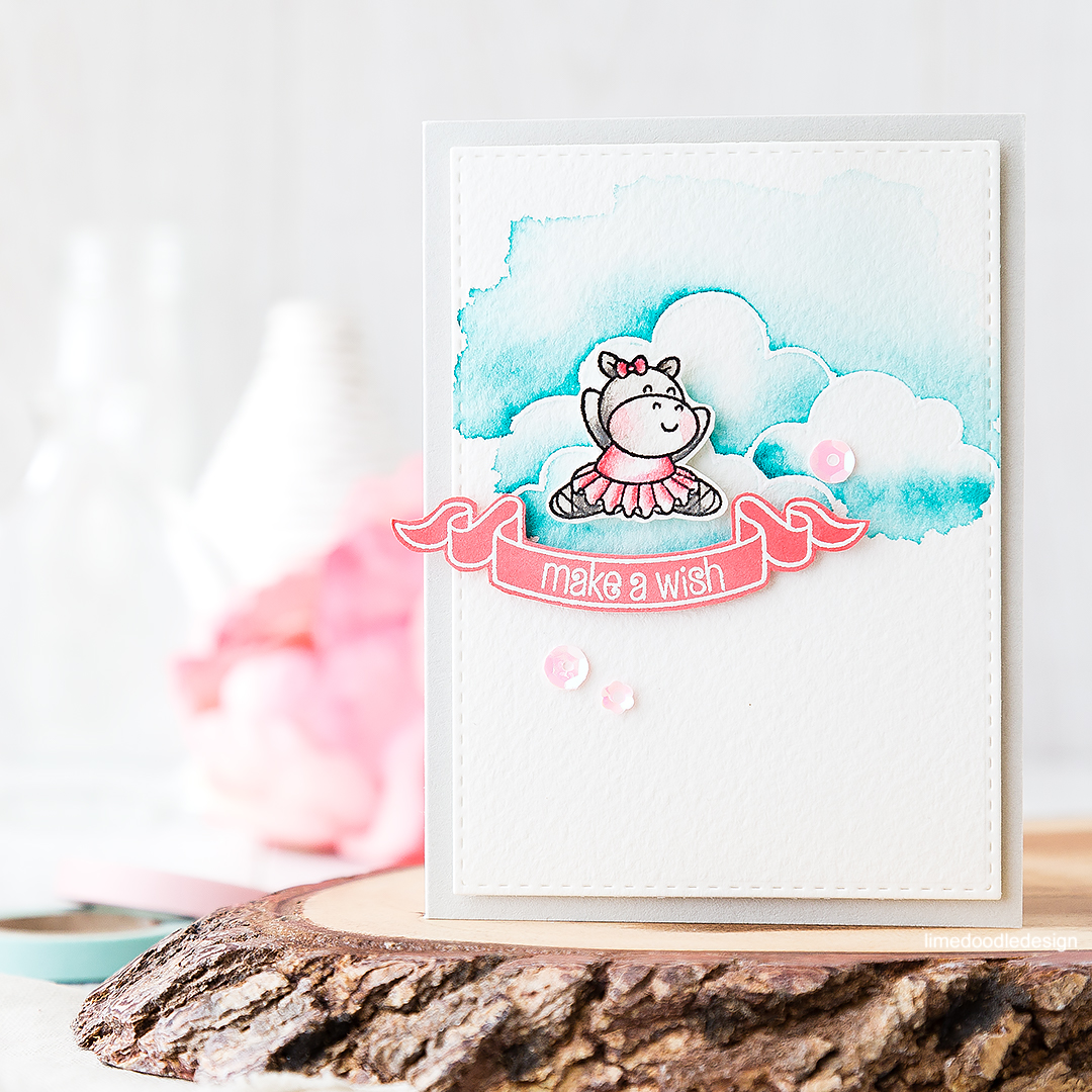 A card with a hippo in a pink tutu among blue skies and clouds is bound to make everyone smile! Find out more by clicking on the following link: https://limedoodledesign.com/2016/07/make-a-wish-hippo-in-a-pink-tutu/