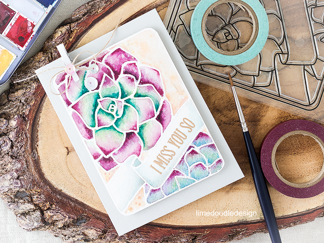 Watercolored Succulent Journaling Card. Find out more by clicking on the following link: https://limedoodledesign.com/2016/07/watercolored-succulents-journalling-card/
