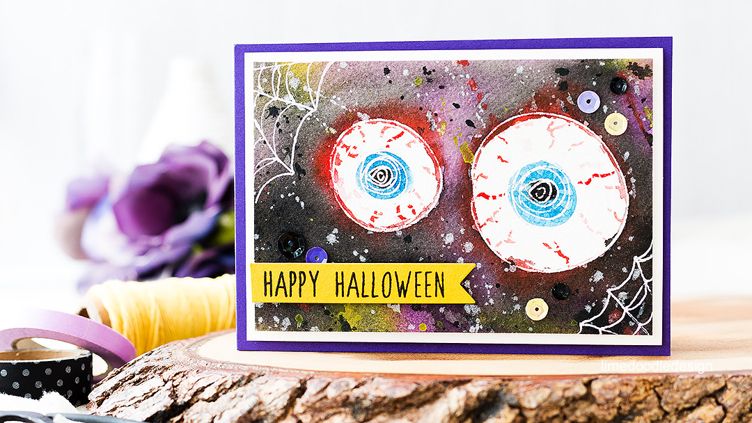 From Spring flowers to spooky Halloween eyes! Find out more how to watercolor this card by clicking on the following link: https://limedoodledesign.com/2016/07/from-spring-flowers-to-spooky-halloween-eyes/