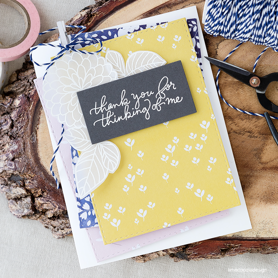 Layering pretty patterned papers on this simple thank you card. Find out more by clicking on the following link: https://limedoodledesign.com/2016/07/layering-pretty-patterned-papers/