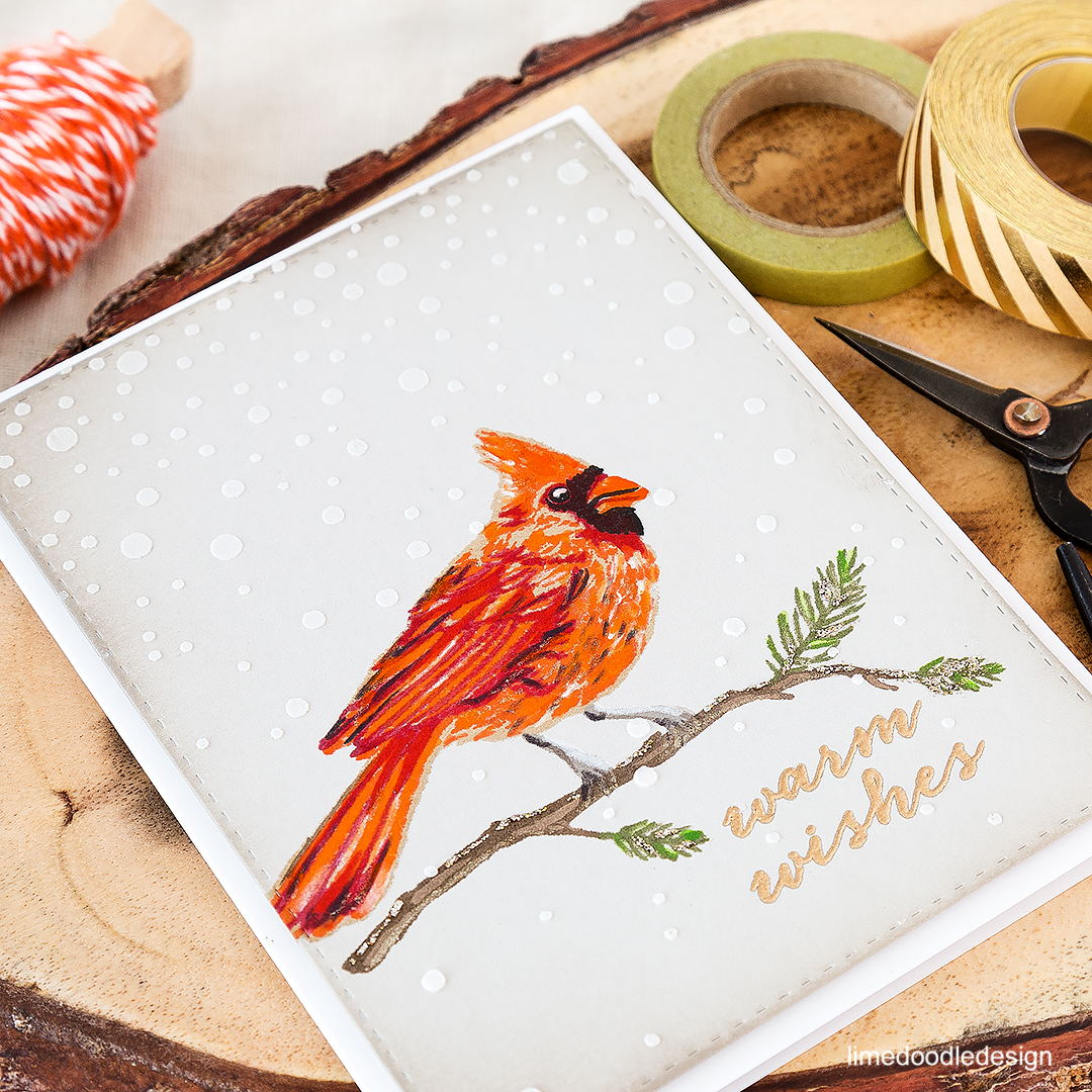 Beautiful cardinal from Hero Arts' color layering set. Find out more by clicking on the following link: https://limedoodledesign.com/2016/07/masterpiece-box-blop-hop-and-giveaway/ Christmas card