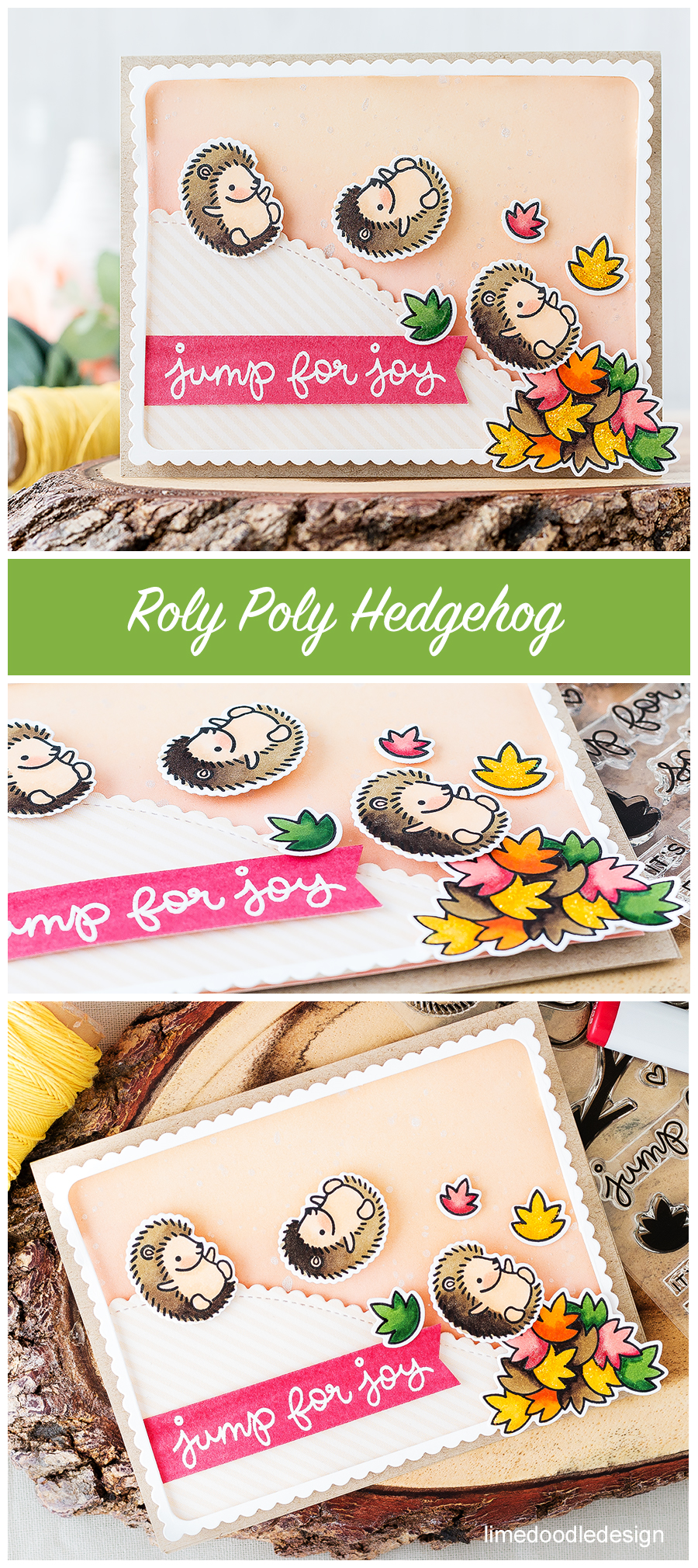 Hedgehog roly polying down a hill. Find out more by clicking on the following link: https://limedoodledesign.com/2016/07/hedgehog-roly-polying-down-a-hill/ fall autumn leaves card