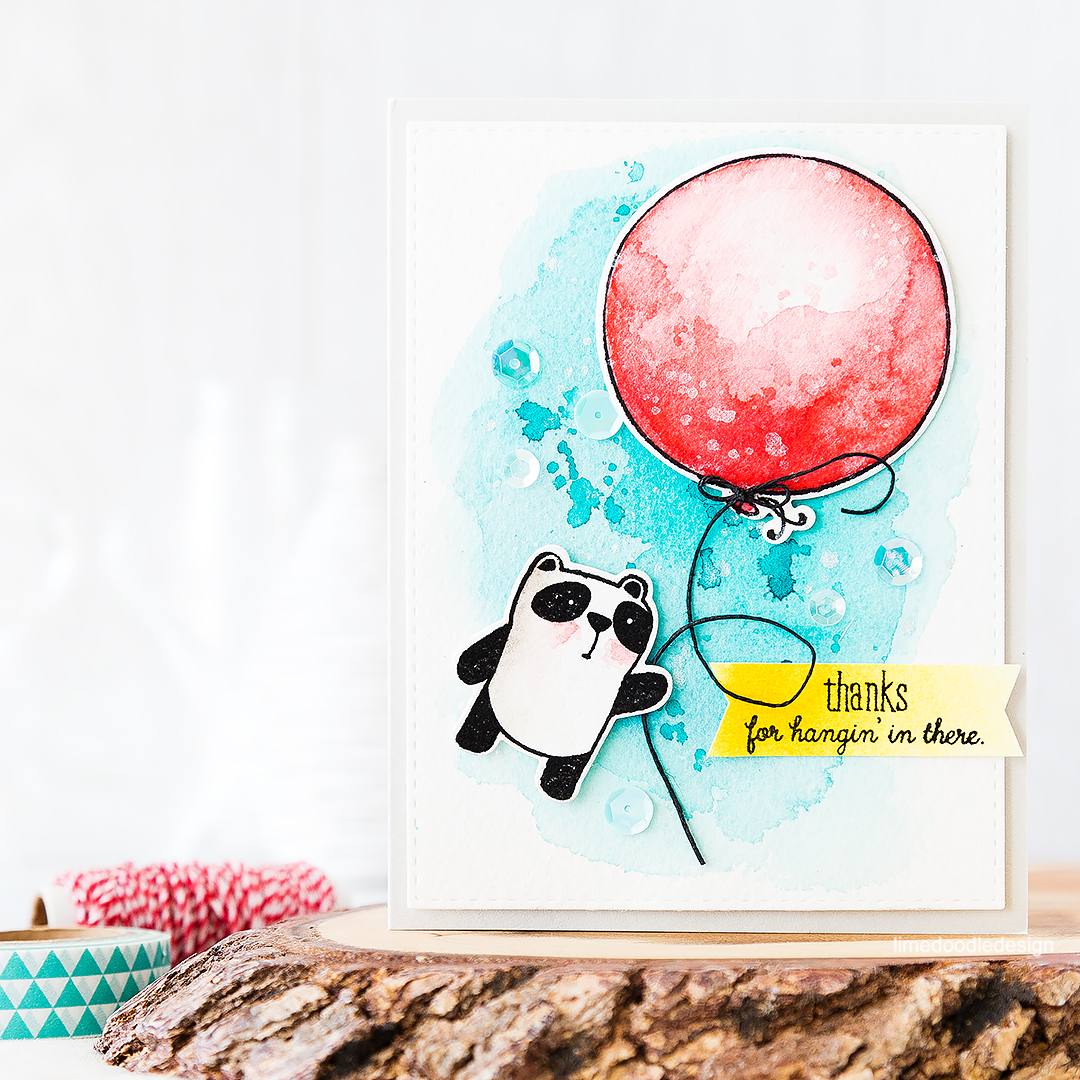 Thanks for hangin' in there - cute panda holding on to a big red watercolored balloon. Find out more by clicking on the following link: https://limedoodledesign.com/2016/07/thanks-for-hangin-in-there/