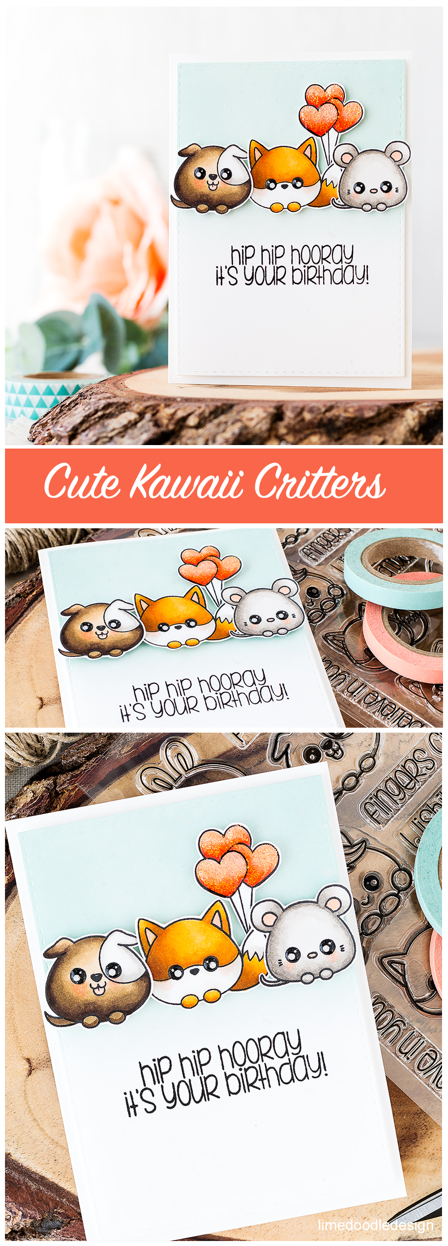 Cute kawaii critters. Find out more about this card by clicking on the following link: https://limedoodledesign.com/2016/08/cute-kawaii-critters/
