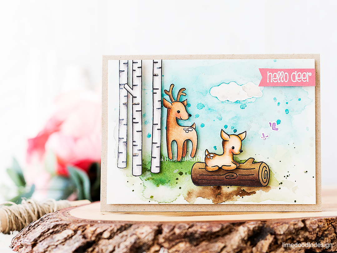 Baby fawn in the woods. Find out more about this card by clicking on the following link: https://limedoodledesign.com/2016/08/baby-fawn-in-the-woods/