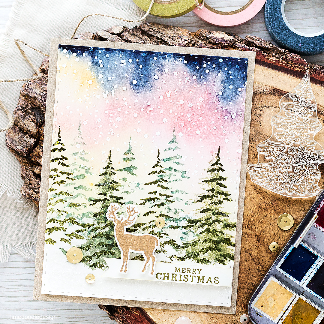 Lone stag in a snowy forest at sunrise. Find out more about this card by clicking on the following link: https://limedoodledesign.com/2016/08/lone-stag-in-a-winter-forest-at-sunrise/