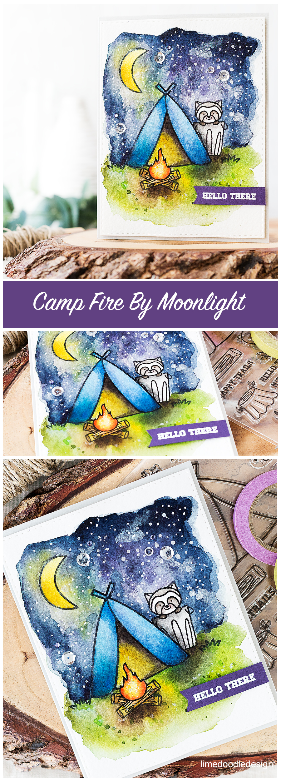 Camping under moonlight with a critter to keep you company! Find out more about this watercolor card by clicking on the following link: https://limedoodledesign.com/2016/08/pretty-pink-posh-august-new-release/