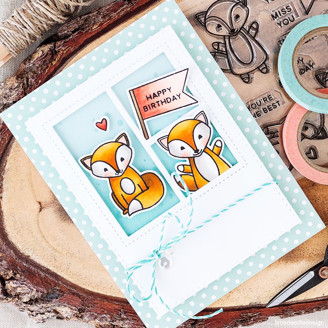 Happy Birthday Foxes! Find out more about this card by clicking on the following link: https://limedoodledesign.com/2016/08/pretty-pink-posh-august-new-release/
