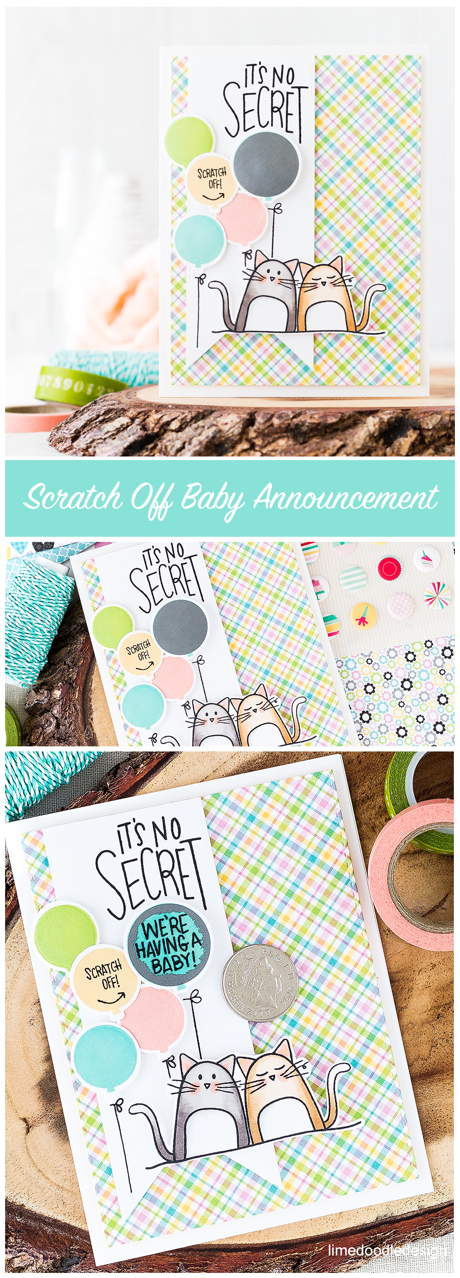 Baby announcement scratch off card. Find out more by clicking on the following link: https://limedoodledesign.com/2016/08/baby-announcement-my-first-scratch-off-card/