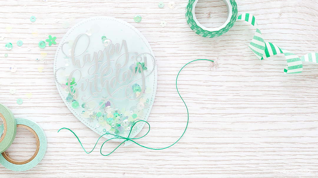 Balloon Shaped Shaker Card! Find out more about this card including a video: https://limedoodledesign.com/2016/08/video-balloon-shaped-shaker-card/