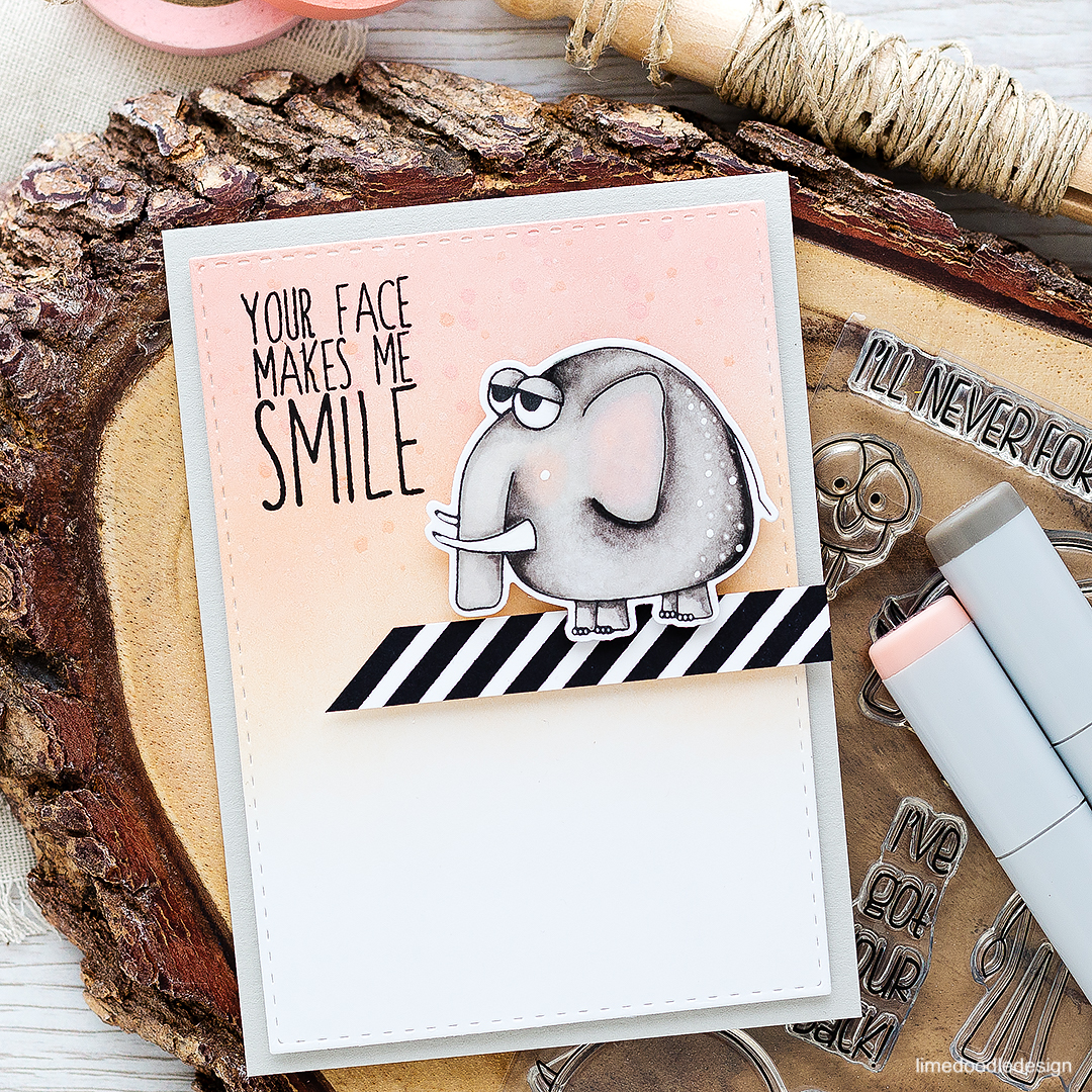 Elephant with attitude! To find out more about this card click on the following link: https://limedoodledesign.com/2016/08/elephant-with-attitude/
