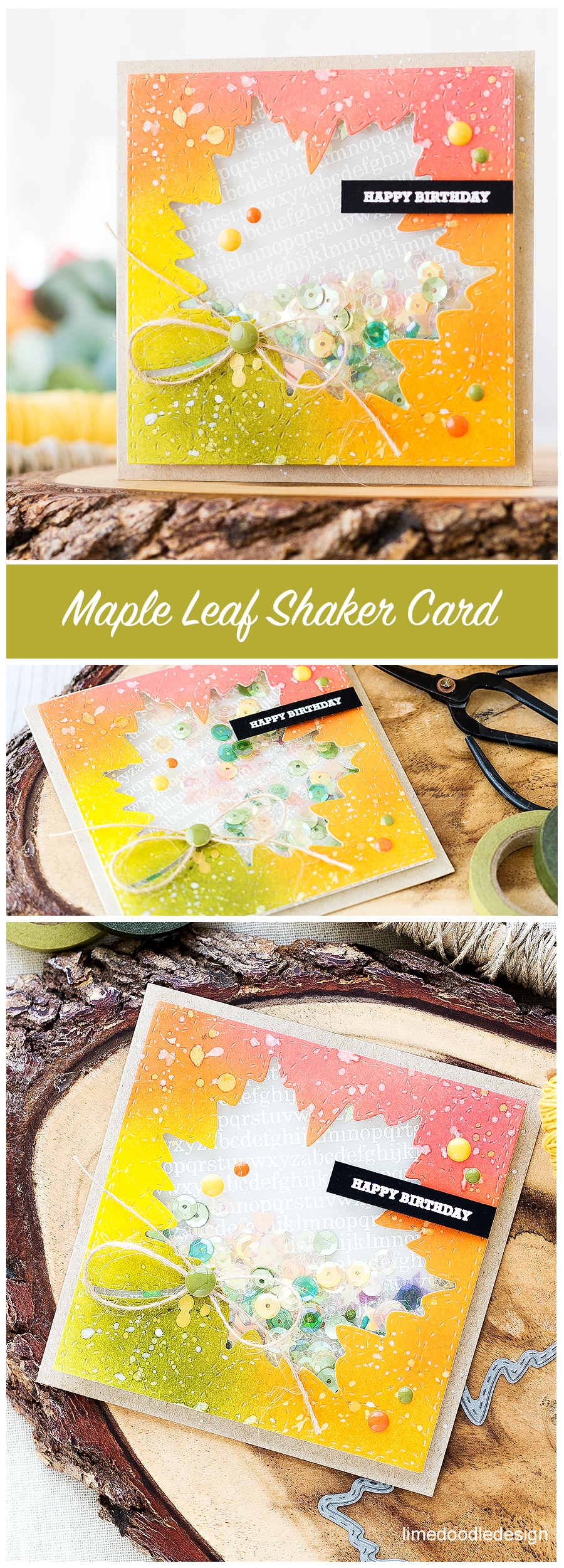 Maple Leaf Autumn Shaker Card. Find out more by clicking the following link: https://limedoodledesign.com/2016/08/maple-leaf-autumn-shaker-card/
