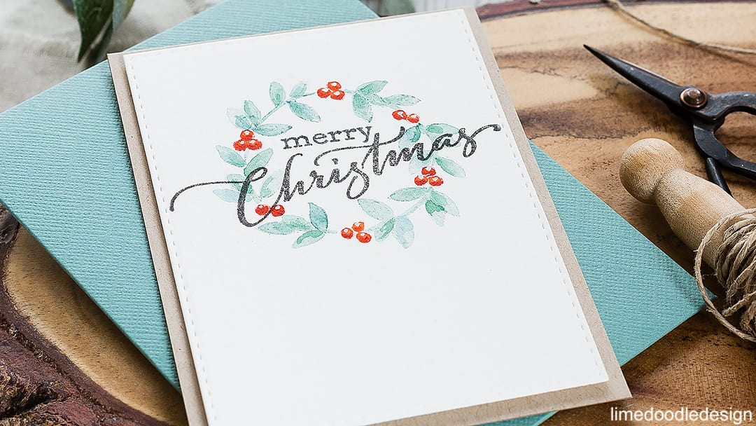 Comparing classic and modern color schemes for a CAS Christmas wreath design. Find out more about these cards by clicking on the following link: https://limedoodledesign.com/2016/09/classic-or-modern-christmas-wreath-color/
