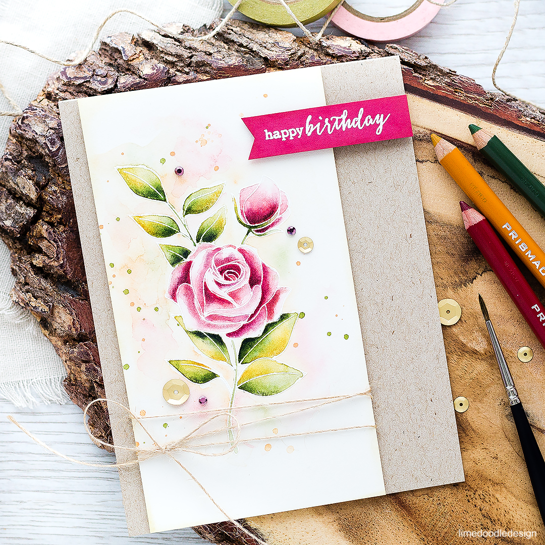 Pencil shaded watercolor video tutorial. Find out more about this card by clicking on the following link: https://limedoodledesign.com/2016/09/video-pencil-shaded-watercolor/