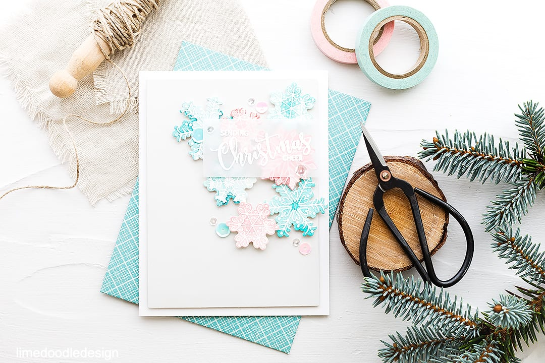 Soft subtle snowflakes. Find out more about this watercolored Christmas card by clicking on the following link: https://limedoodledesign.com/2016/09/soft-subtle-snowflakes-avery-elle-stamptember/