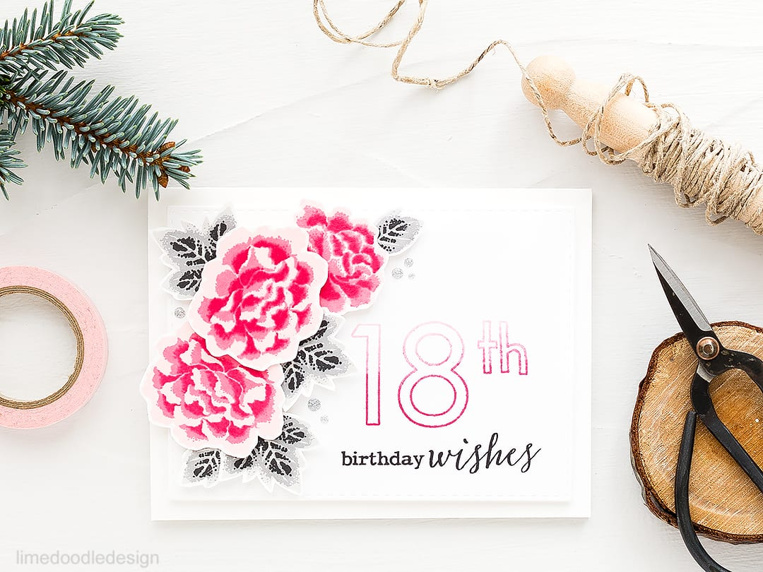 Layered chrysanthemums birthday card. Find out more about this card by clicking on the following link: https://limedoodledesign.com/2016/09/layered-chrysanthemums-clearly-besotted-stamptember/