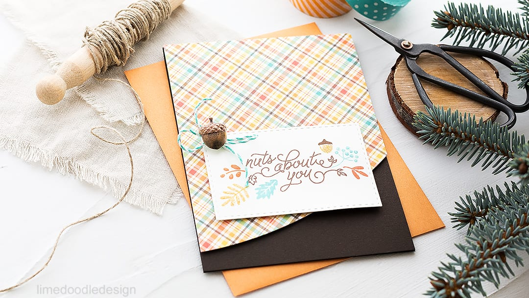 Nuts About You - rich autumn hues of the October Card Kit. Find out more about this card by clicking on the following link: https://limedoodledesign.com/2016/09/october-card-kit-rich-autumn-hues/