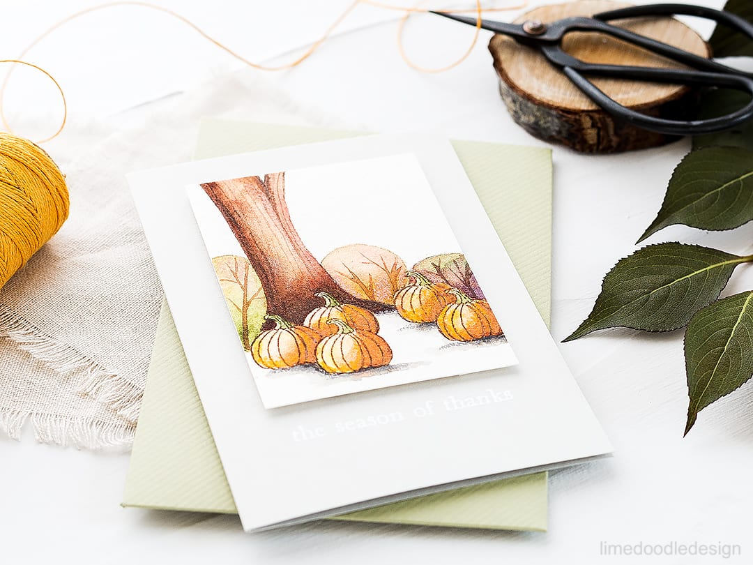 I was inspired by German illustrator Ira Sluyterman van Langeweyde while watercoloring this season of thanks card. Find out more by clicking on the following link: https://limedoodledesign.com/2016/09/video-the-season-of-thanks-hero-arts-stamptember/