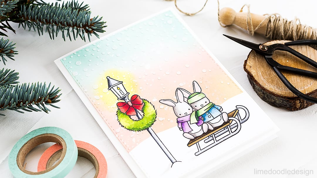 Cute winter scene using the STAMPtember exclusive by Memory Box. Find out more about this card by clicking on the following link: https://limedoodledesign.com/2016/09/winter-scene-memory-box-stamptember/