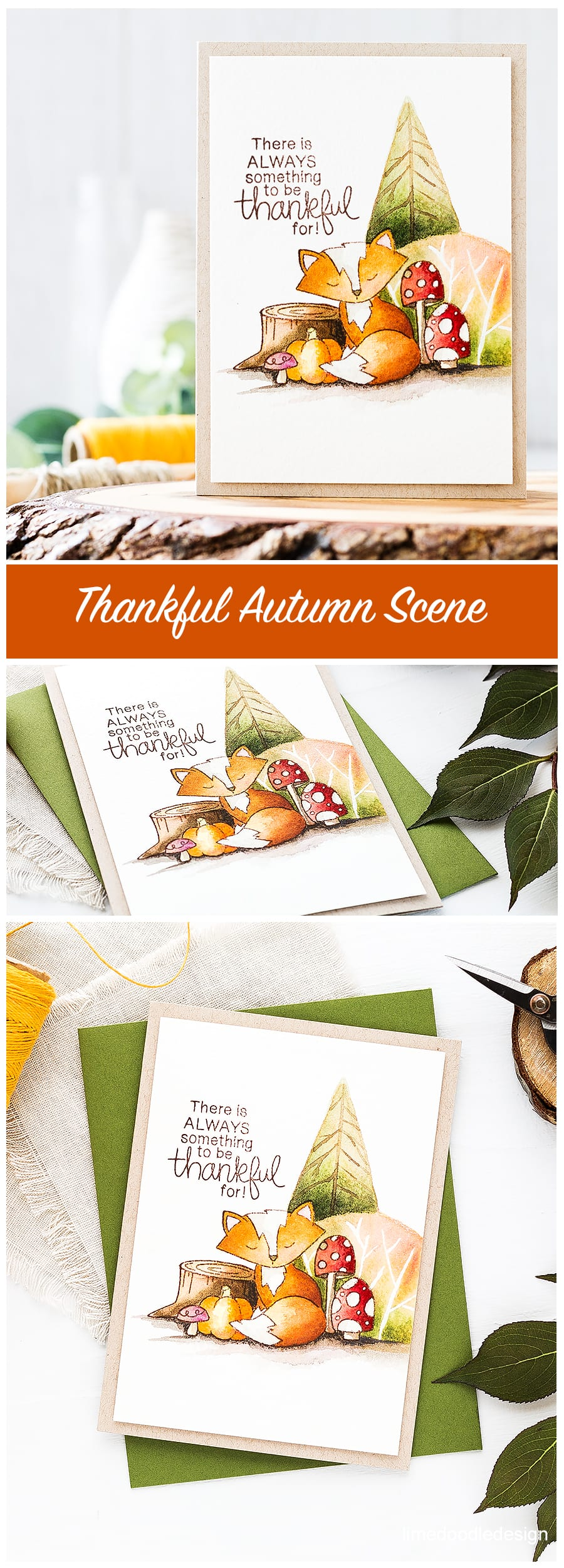 A sweet thankful foxy forest scene using the new Newton's Nook exclusive STAMPtember set. Find out more about this card by clicking on the following link: https://limedoodledesign.com/2016/09/thankful-newtons-nook-stamptember/