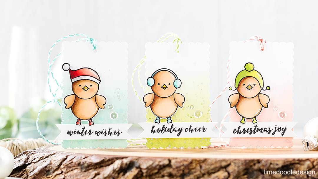 Cute winter tags. Find out more about these Christmas tags by clicking on the following link: https://limedoodledesign.com/2016/09/cute-winter-tags-pretty-pink-posh-stamptember/