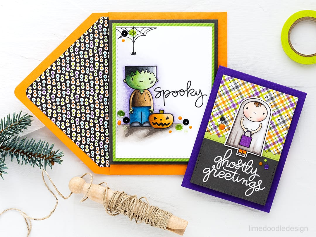 Halloween cards, treat bags, shaker card and pillow boxes with the Ghostly Greetings Card Kit. Find out more about these projects by clicking on the following link: https://limedoodledesign.com/2016/09/ghostly-greetings-special-edition-halloween-card-kit/