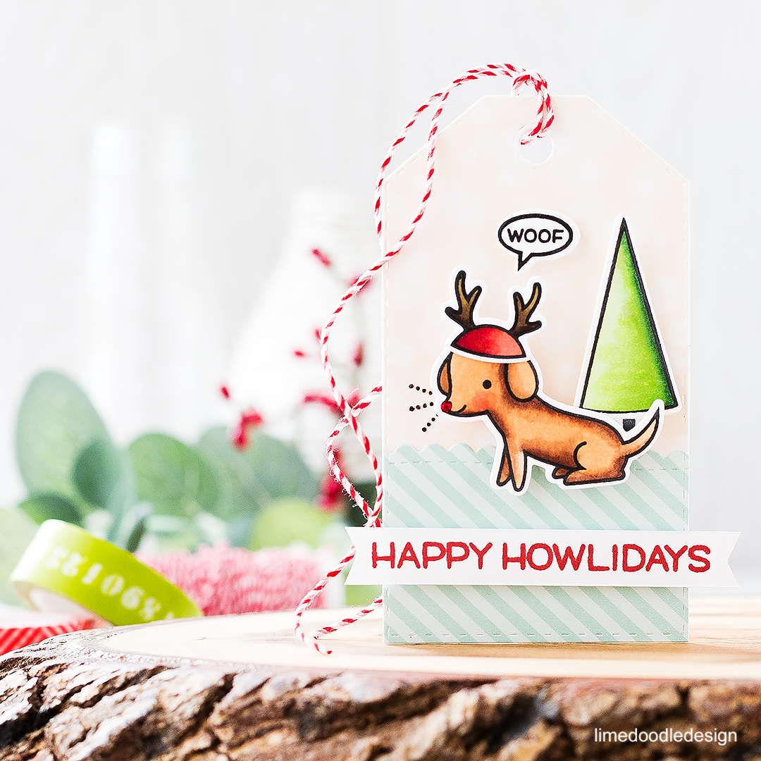 Happy Howlidays gift box, card and tag set. Find out more about this Christmas set by clicking on the following link: https://limedoodledesign.com/2016/09/stamptember-lawn-fawn-happy-howlidays/