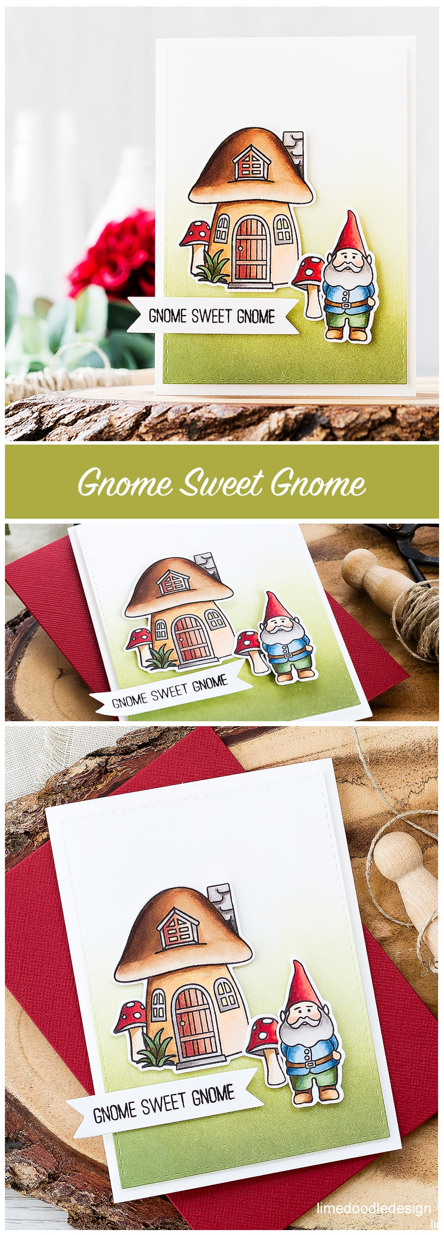 Gnome Sweet Gnome. Find out more about this card by clicking on the following link: https://limedoodledesign.com/2016/09/stamptember-fun-blog-hop-giveaway/
