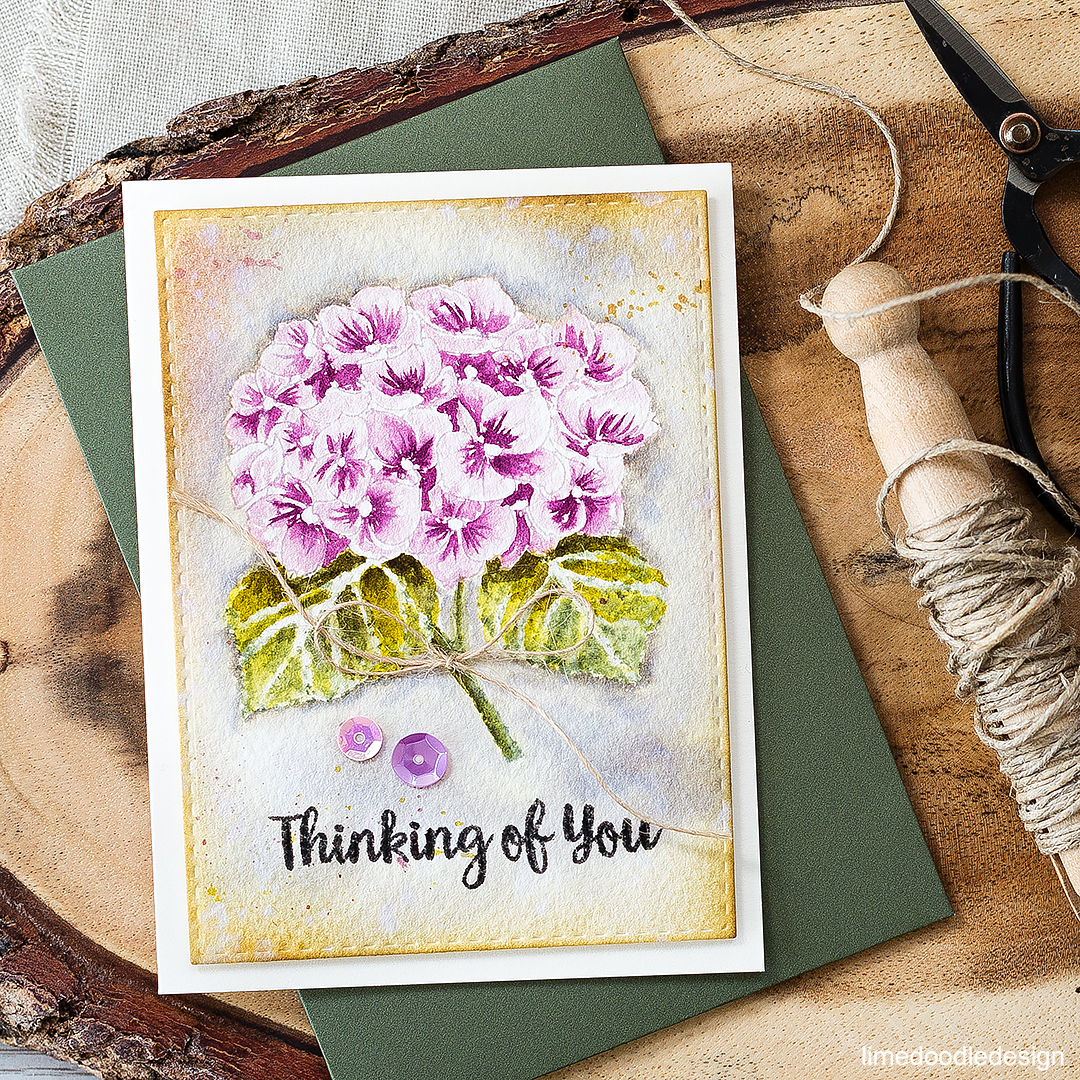Watercolored hydrangea thinking of you card. Find out more by clicking on the following link: https://limedoodledesign.com/2016/09/watercolored-hydrangea/