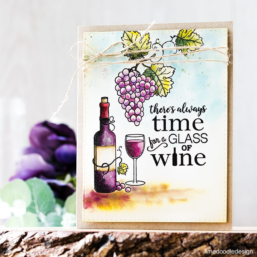 Time For A Glass Of Wine! Find out more about this card by clicking on the following link: https://limedoodledesign.com/2016/09/theres-always-time-for-a-glass/