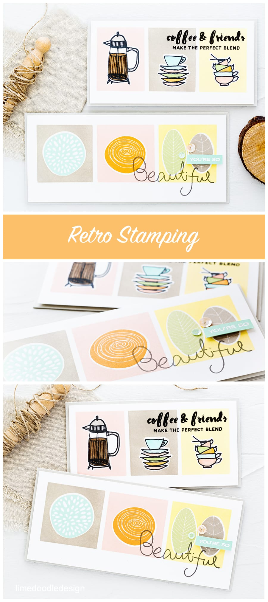 Video tutorial showing how to create retro stamping look. Find out more about these flower and coffee cards by clicking on the following link: https://limedoodledesign.com/2016/10/video-retro-stamping-flowers-and-coffee-giveaway/