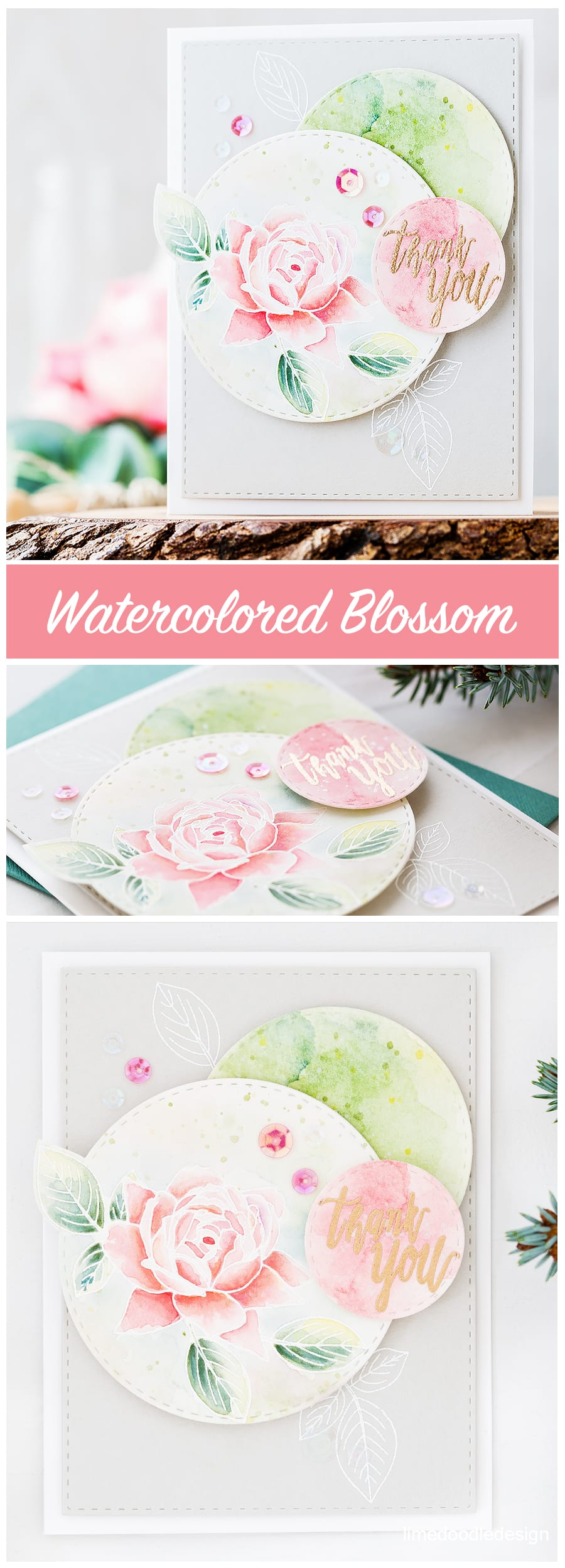 Floral, Holiday, Christmas/New Year, thank you cards for Altenew October Release. Find out more by clicking on the following link: https://limedoodledesign.com/2016/10/altenew-october-release-blog-hop/
