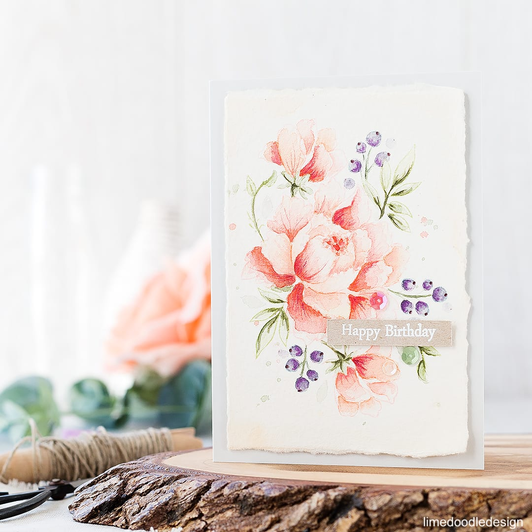 Soft watercolored peony. Find out more about this card by clicking on the following link: https://limedoodledesign.com/2016/10/soft-watercolored-peony/