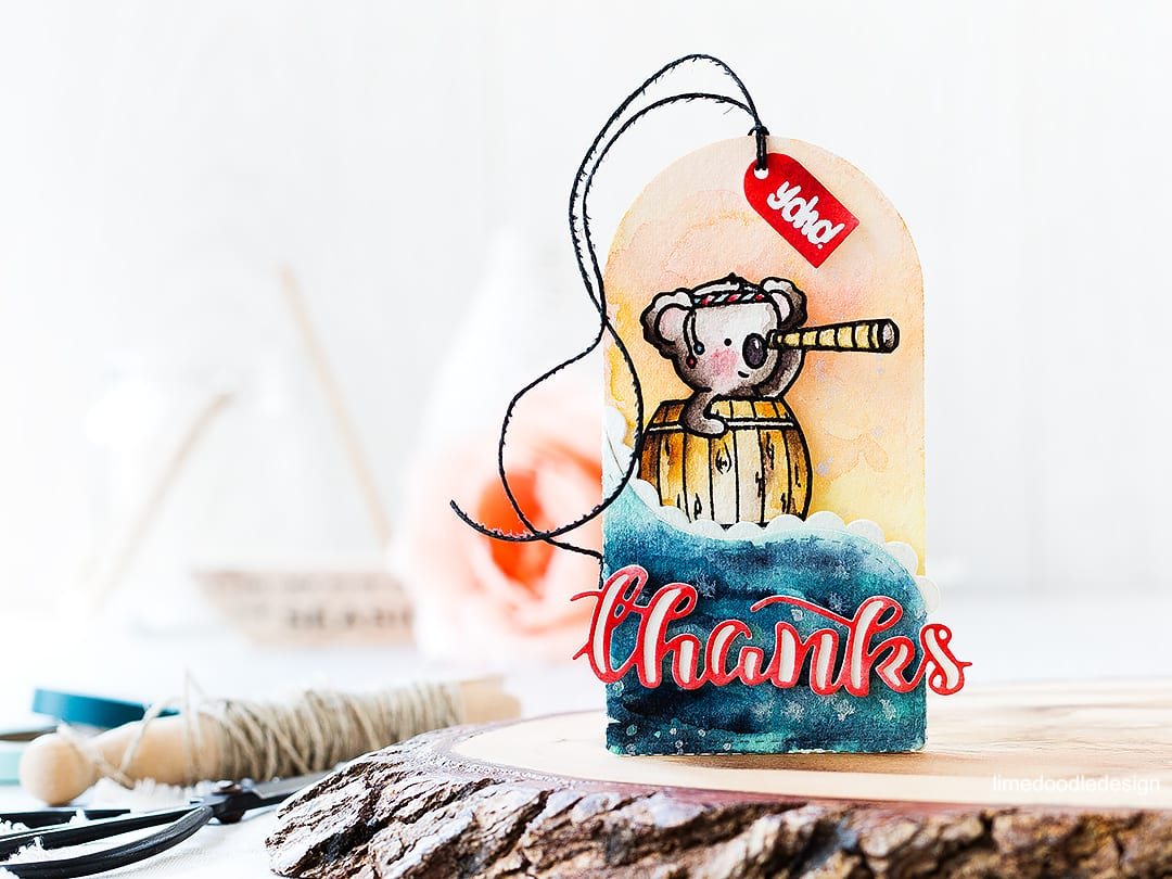 Watercolor video tutorial of this cute Create A Smile koala tag just perfect for a gift card or money gift. Find out more about this tag by clicking on the following link: https://limedoodledesign.com/2016/10/video-pocket-tag-koala-fun/