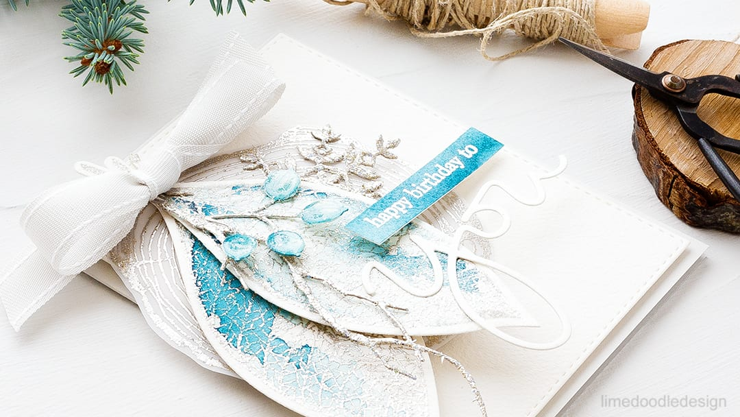 Lots of layers in this frosty winter leaves card combining the beautiful Lace Leaf from Concord & 9th with dies from Simon Says Stamp. Find out more about this card by clicking on the following link: https://limedoodledesign.com/2016/10/frosty-winter-leaves/