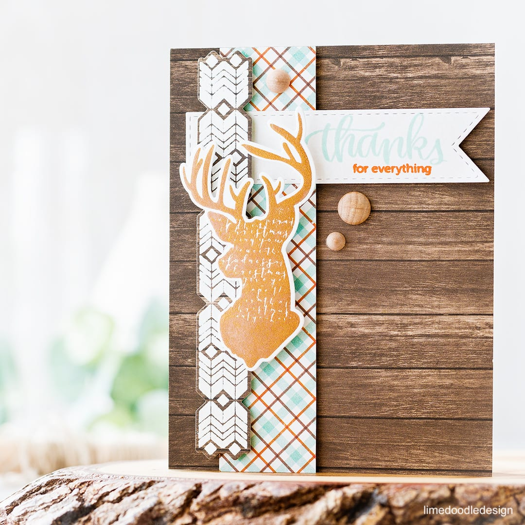 Glorious copper tones of the November Card Kit from Simon Says Stamp. Find out more about this thank you card by clicking on the following link: https://limedoodledesign.com/2016/10/glorious-copper-tones/