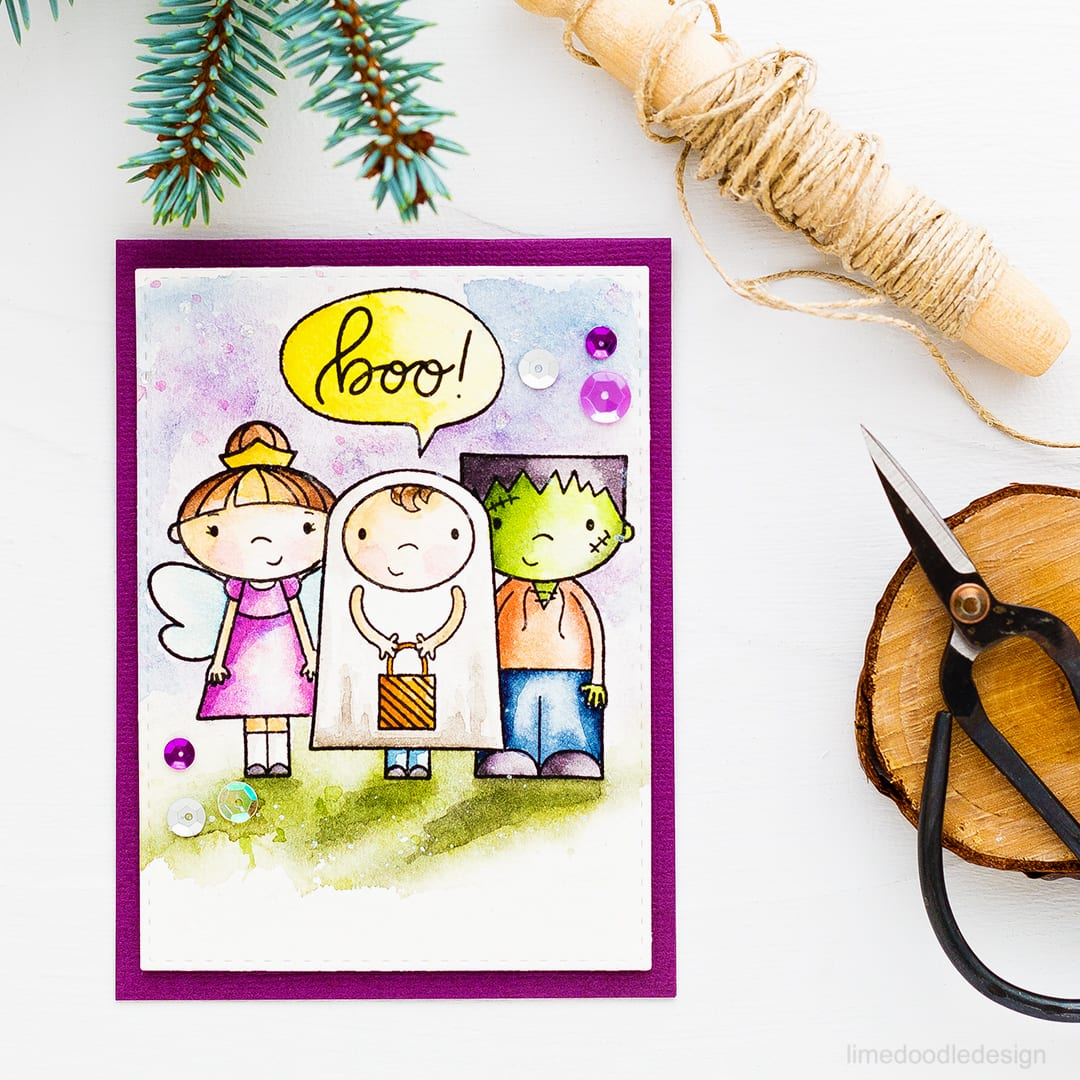 Watercolored Halloween card with the super cute Ghostly Greetings set. Find out more about this card by clicking on the following link: https://limedoodledesign.com/2016/10/ghostly-greetings-back-in-stock/