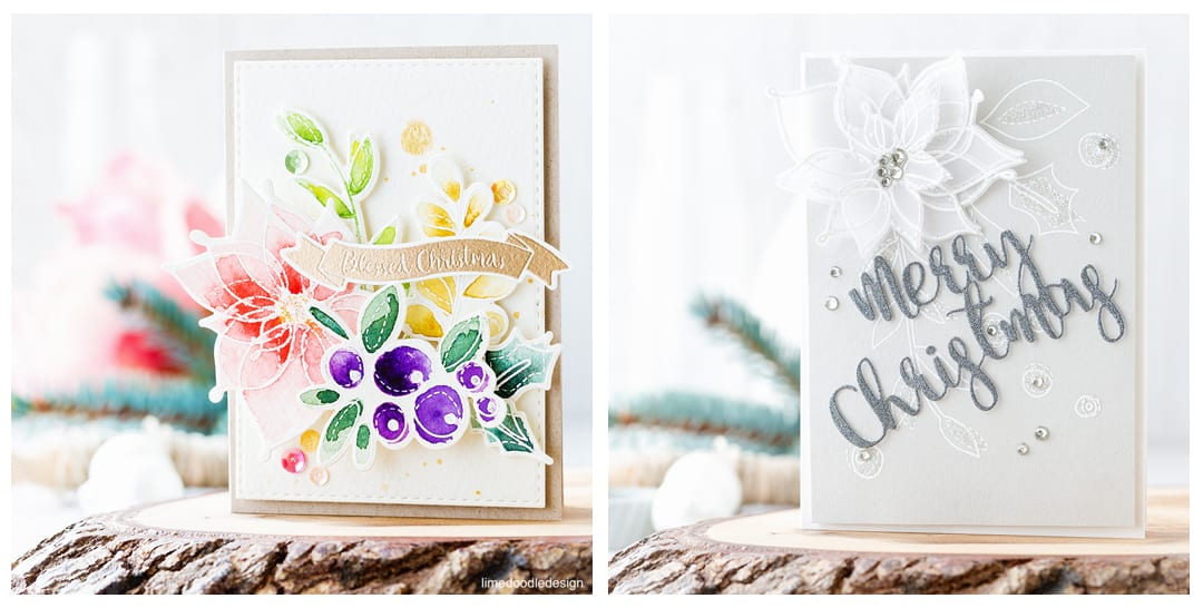 One set two ways using the beautiful Winter Flowers set from the new Believe In The Season release from Simon Says Stamp. Find out more about these two very different Christmas cards by clicking on the following link: https://limedoodledesign.com/2016/10/winter-flowers-two-ways-blog-hop/