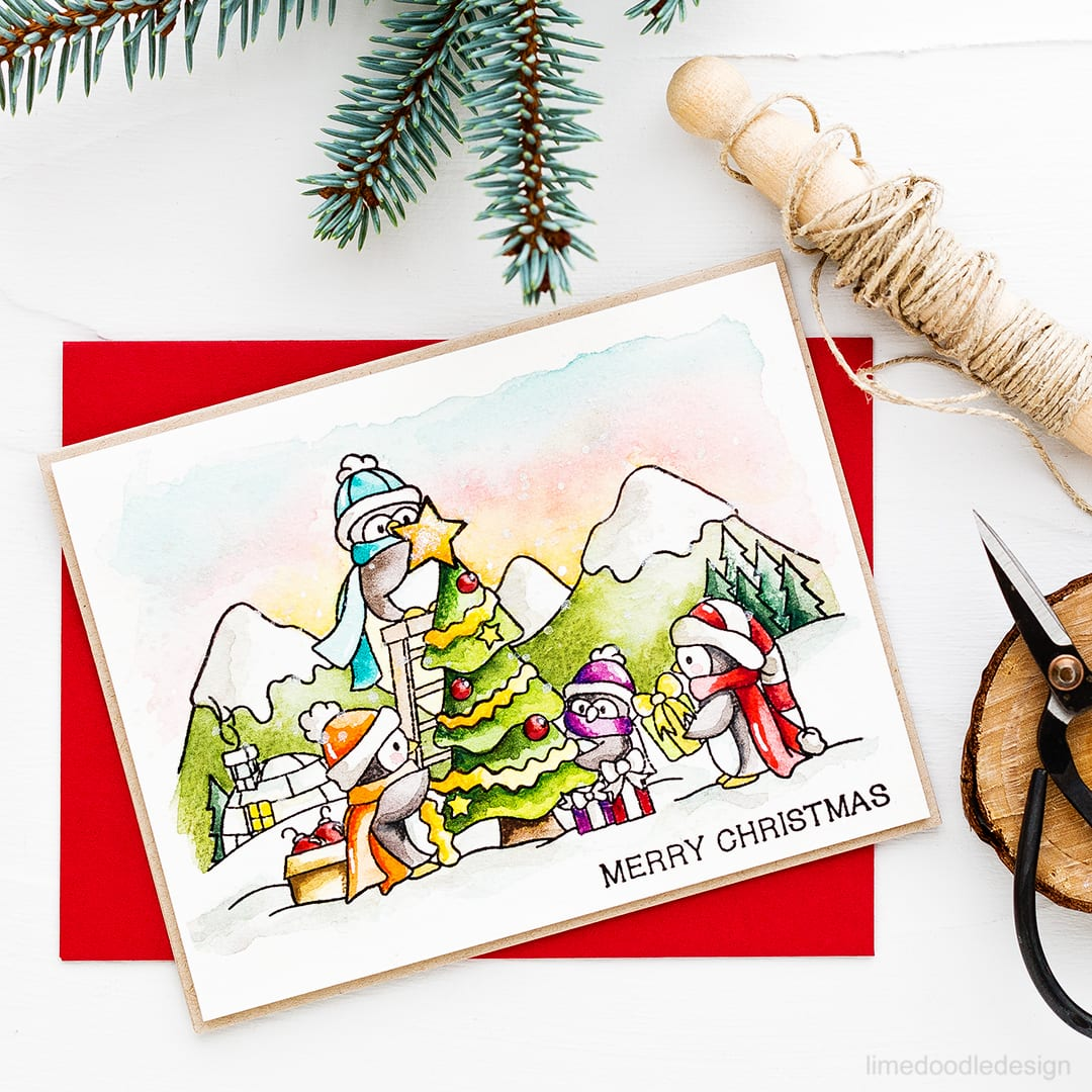 Speed video watercoloring this cute dressing the tree scene. Find out more about the Christmas card by clicking on the following link: https://limedoodledesign.com/2016/10/video-dressing-the-tree/