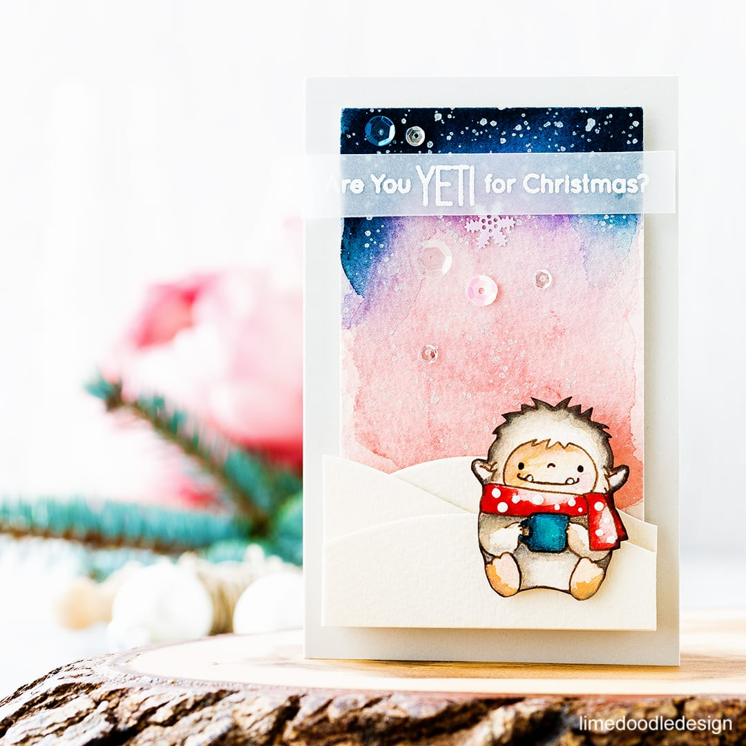 Are you YETI for Christmas? I'm using the cute yeti from Beast Friends by My Favorite Things on this simple Christmas card. Find out more about this card by clicking on the following link: https://limedoodledesign.com/2016/11/rough-around-the-edges/