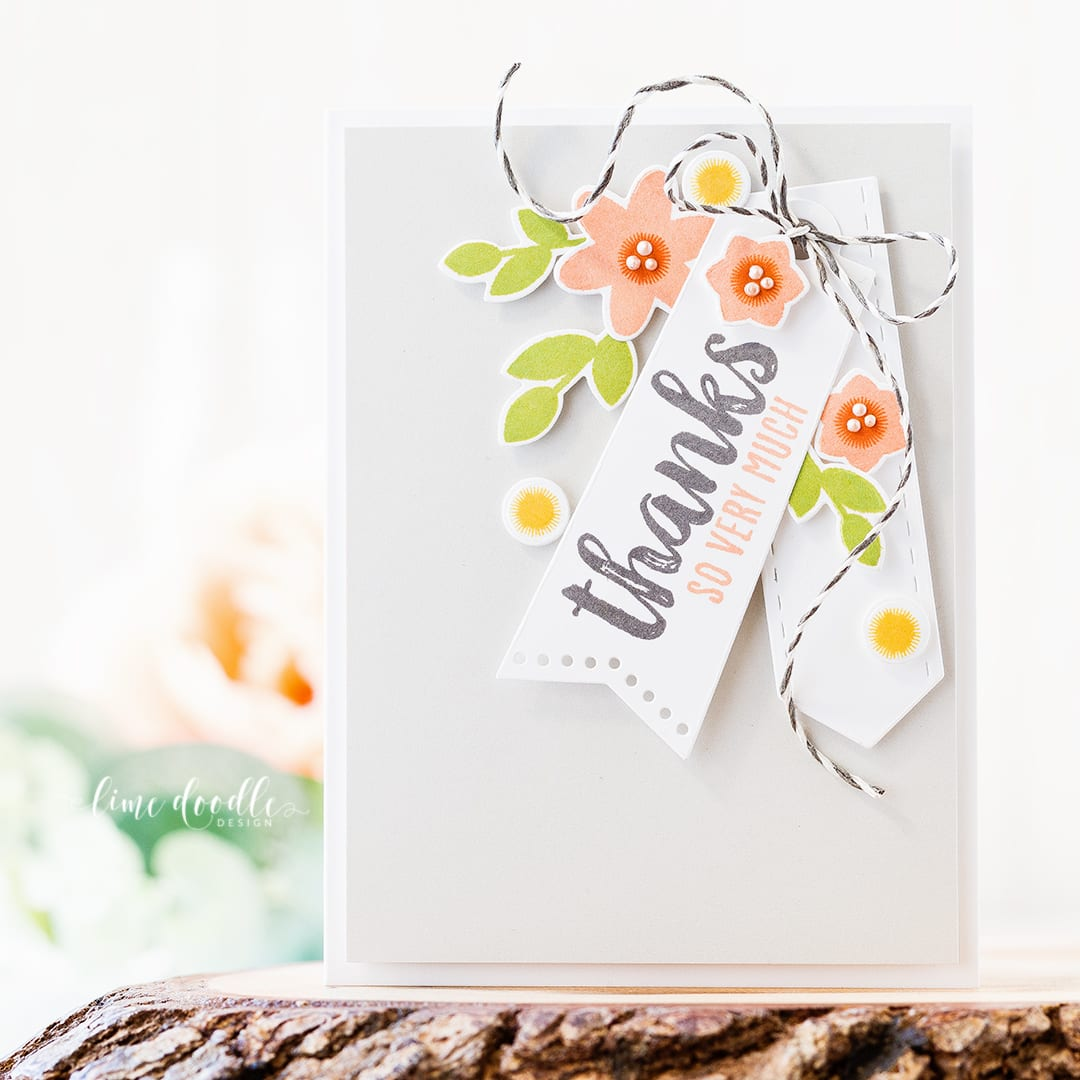 Tags are the focal point in this clean and simple thank you card. Find out more about this card by clicking on the following link: https://limedoodledesign.com/2016/11/thanks-so-very-much-focal-point-tags/