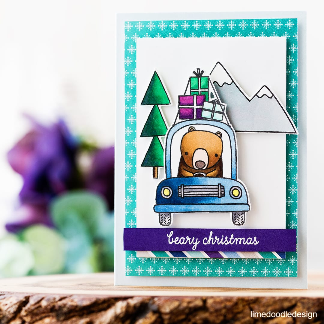 Cute bear Christmas card using the new Bearing Gifts set from Reverse Confetti . Find out more about this card by clicking on the following link: https://limedoodledesign.com/2016/11/bearing-gifts-blog-hop/