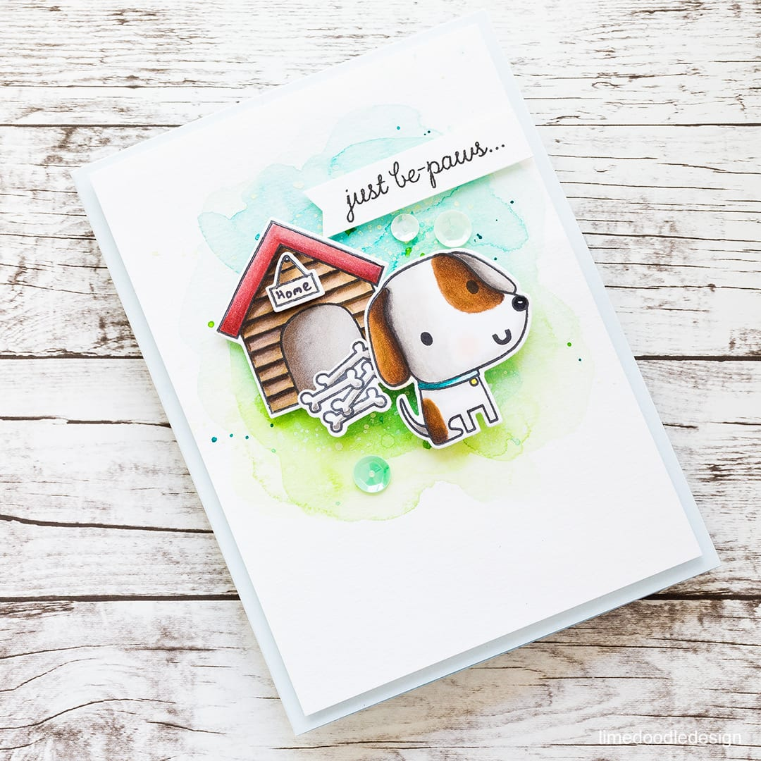 Coloring two ways with the new Paw Prints set from Reverse Confetti. Find out more about these cute dog cards by clicking on the following link: https://limedoodledesign.com/2016/11/coloring-two-ways/
