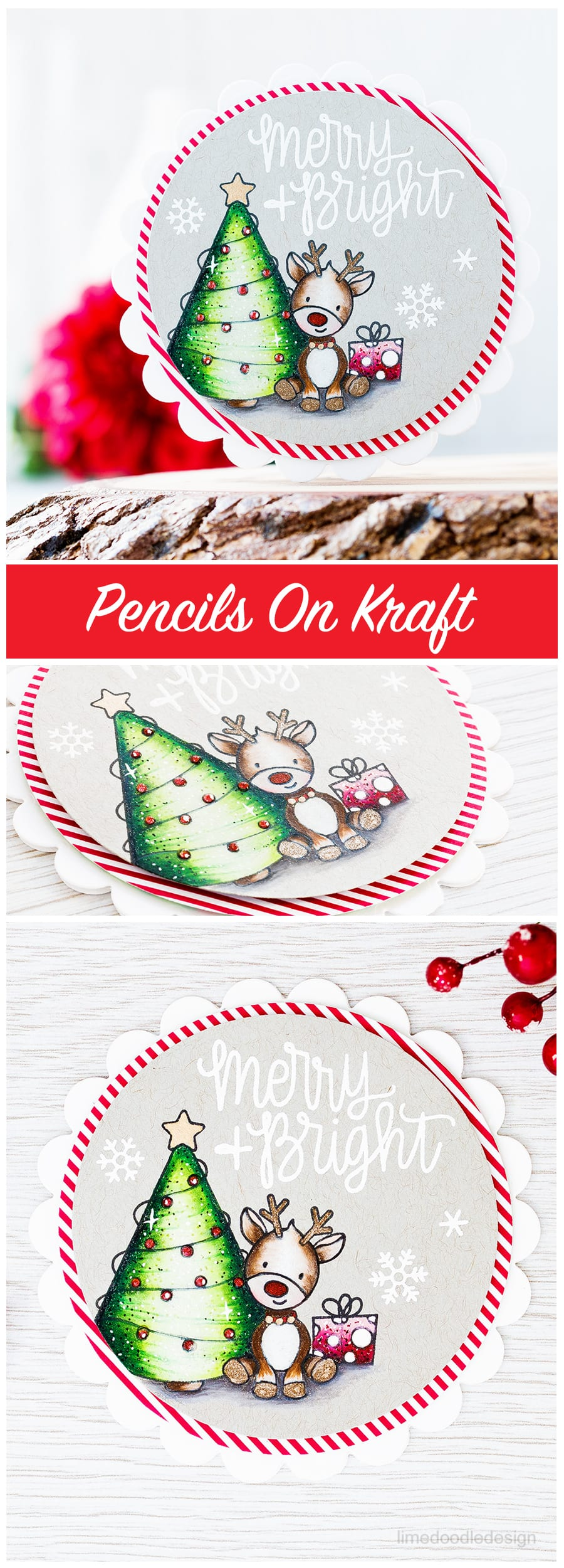 Coloring with pencils on kraft card and the new December card kit from Simon Says Stamp. Find out more about this cute Christmas card by clicking on the following link: https://limedoodledesign.com/2016/11/coloring-with-pencils-on-kraft-card/