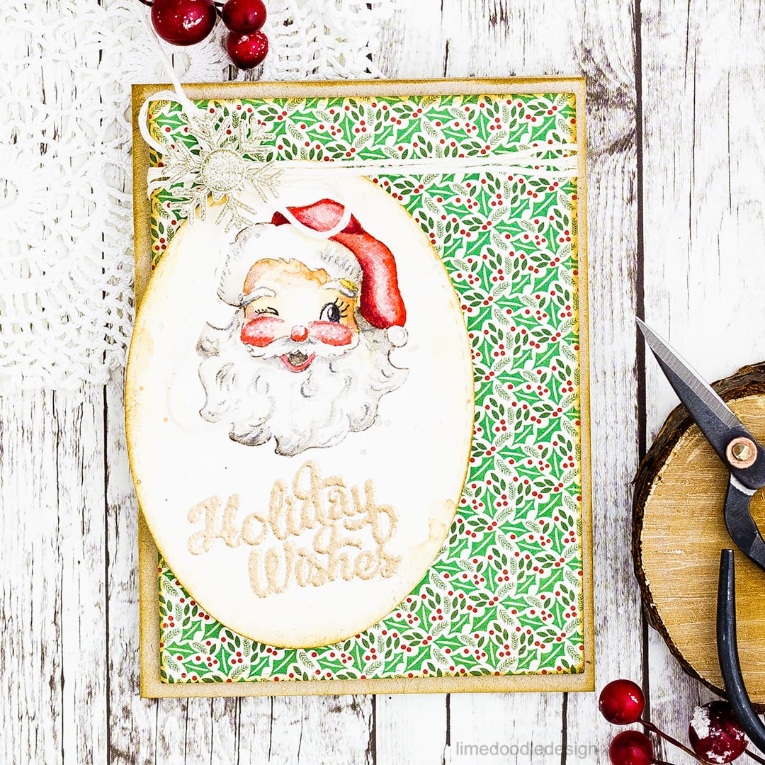 Vintage inspired watercolored Christmas card using the Limited Edition 2016 Holiday Card Kit from Simon Says Stamp. Find out more about this card by clicking on the following link: https://limedoodledesign.com/2016/11/vintage-christmas-limited-edition-2016-holiday-card-kit/