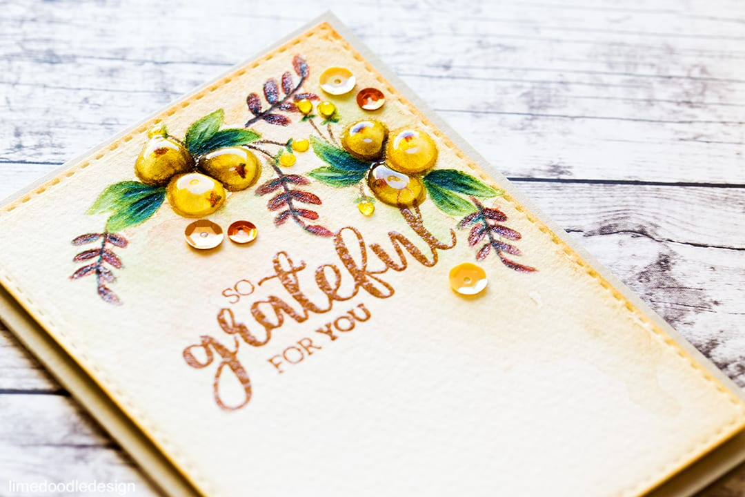Glossy Autumn Berries. So Grateful For You. Find out more about this card by clicking on the following link: https://limedoodledesign.com/2016/11/glossy-autumn-berries/