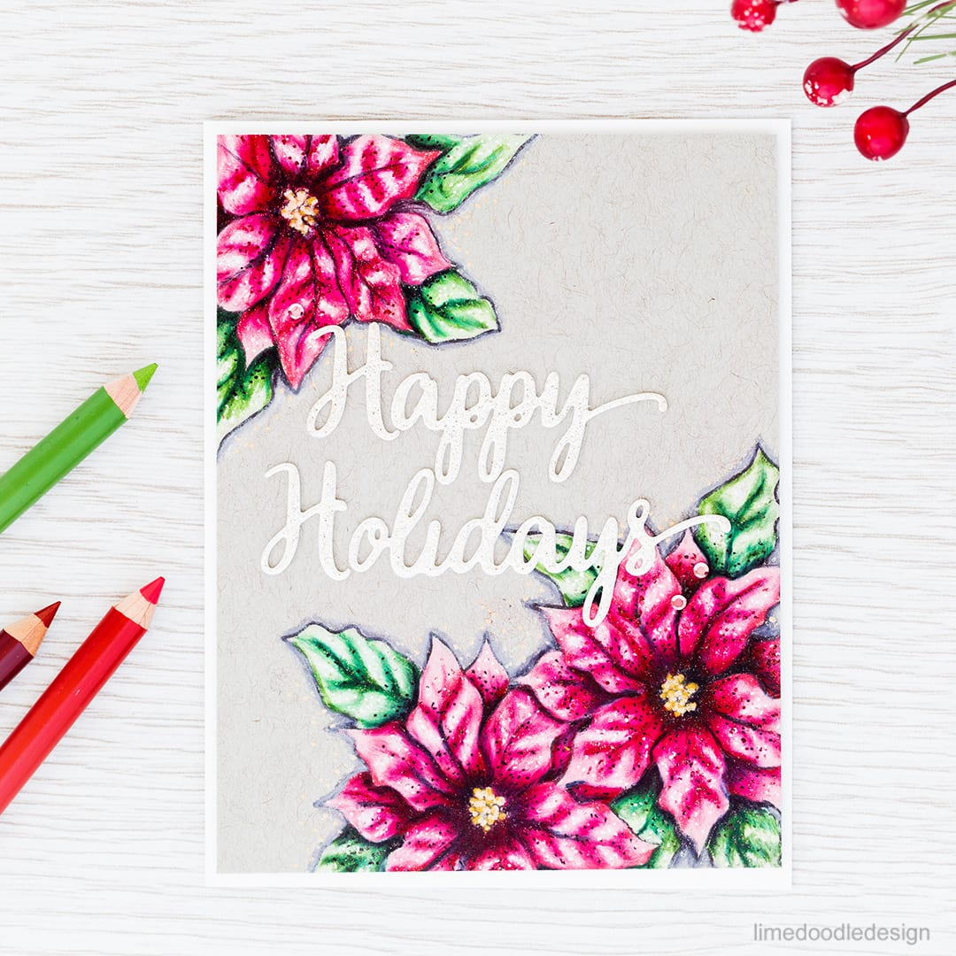 Poinsettias with colored pencils. Find out more about this Christmas card by clicking on the following link: https://limedoodledesign.com/2016/11/poinsettias-with-colored-pencils-sales-news/